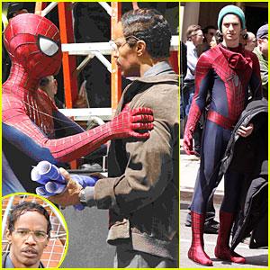 Andrew Garfield e Jamie Foxx nas filmagens do Espetacular Homem-Aranha 2
