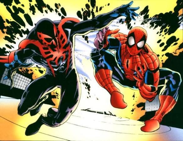 O primeiro encontro ente o Aranha e sua versão do futuro