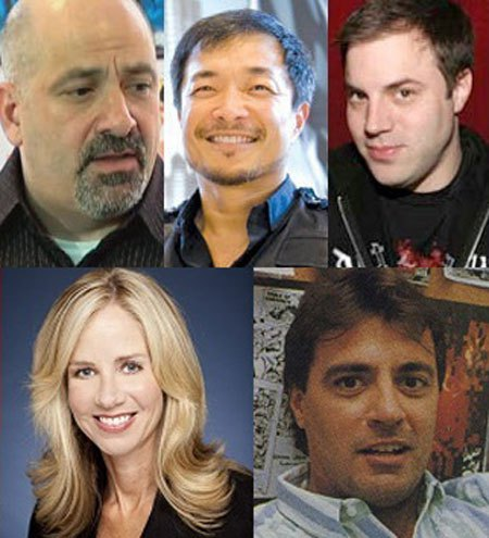 Dan Didio, Jim Lee, Geoff Johns, Diane Nelson e Bob Harras