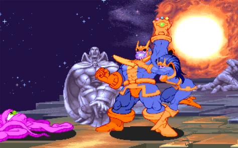 Thanos já foi chefãofinal do clááássico Marvel Super-Heroes