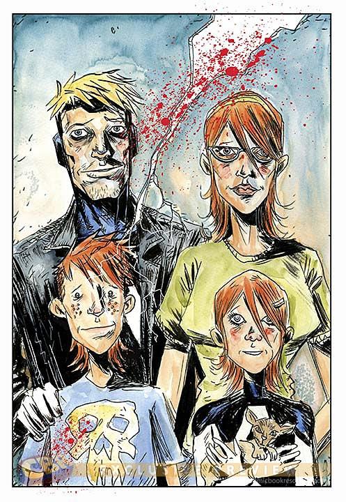 Família Baker no traço cartunesco de Lemire