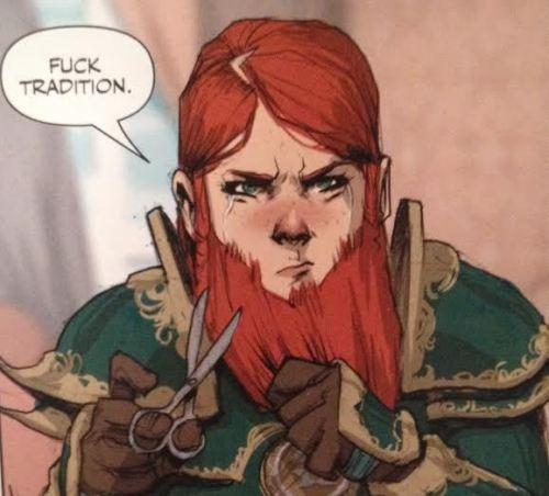 Da série de fantasia medieval Rat Queens Violet é uma mulher da raça dos anões. Nem precisa dizer mais nada